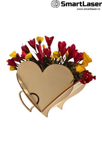 Cutii Flori Inima Lemn