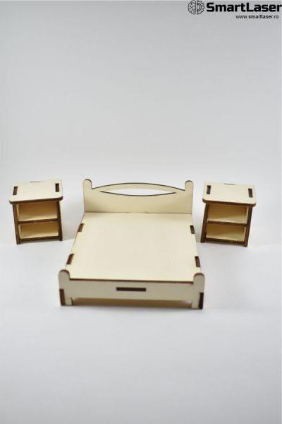 mobila jucarie pat cu noptiere