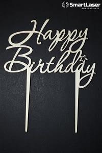 Toppere Lemn Happy Birthday 2 Picioare