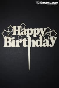 Toppere Lemn Happy Birthday cu Stelute