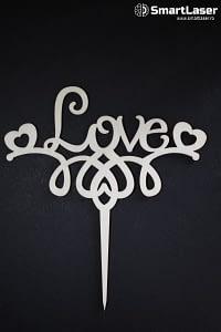 Toppere Lemn Love cu Inimioare