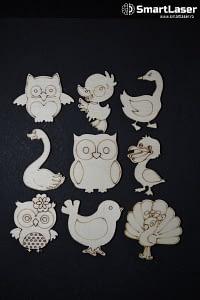 Figurine Animale Pasari – Set 9 Figurine Lemn
