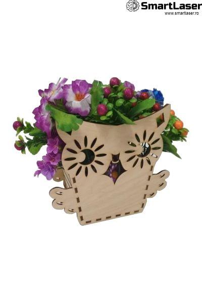 Cutii pentru Flori din Lemn Bufnita