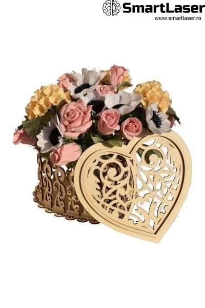 Cutii Lemn Flori Inima Eleganta